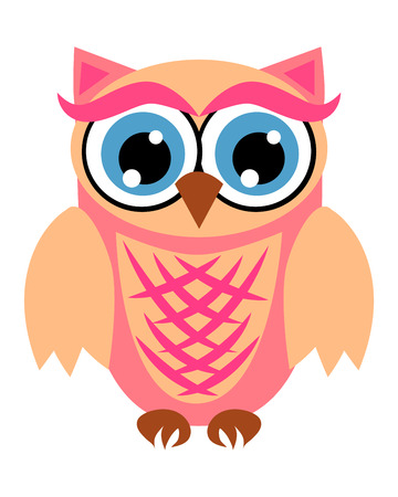 Cute owl with big eyes in a trendy coral color, design