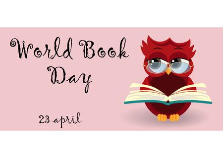 Journée mondiale du livre. Hibou intelligent sur pile de livres, livre ouvert et lettrage sur fond bleu sarcelle. Connaissance, éducation, étude, apprentissage
