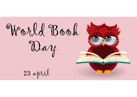 World book day. Smart owl on stack of books, open book and lettering on teal background. Knowledge, education, studying, learning
