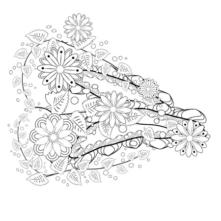 Outline vector drawing of flowers for adult coloring books. Page of floral pattern in black and white.