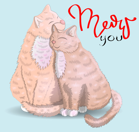 Two cats with hearts and an inscription I have for you Moore, the concept of love, romantic love, Valentines Day