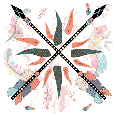 Wild and Free print with ethnic arrows. Boho style, home decor, poster, card and web banner, blog, advertisement 矢量图像