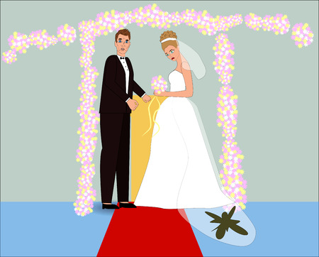 Sad fiancee with dirty dress, cartoon style. Illustration of difficult wedding situation. Wedding character in cartoon hand drawn style