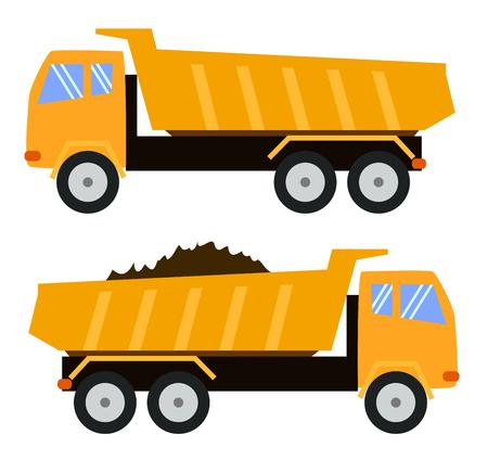 Camion ribaltabile. Camion della spazzatura. Stile cartone animato, illustrazione infantile, giocattolo
