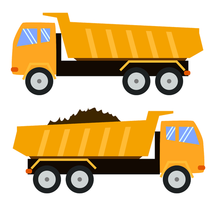 Tipper Truck. Dump truck. Cartoon style, childlike illustration, toy