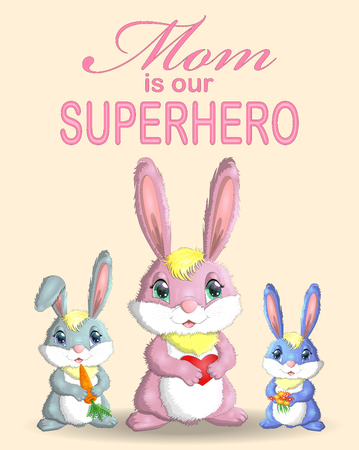 Mother s Day greeting card. Rabbit holding heart. Mom you are best. I love you mom