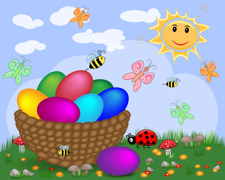 Easter background with decorated Easter eggs and Easter eggs in basket in sunny field Illustration