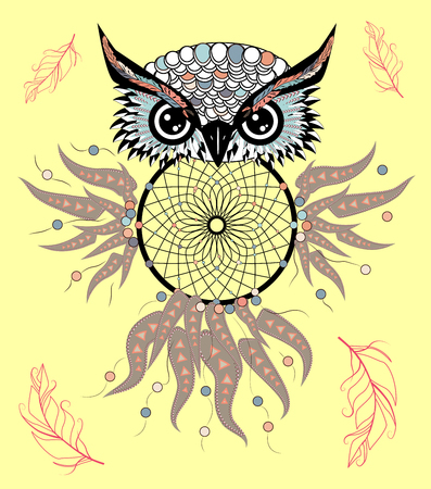 Boho style colored owl with tribal arrows. illustration. Bohemian tribal owl with a dream catcher. Totem owl