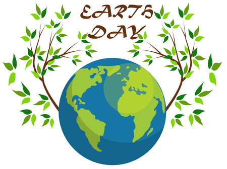 Planets and green leaves. April 22. Happy Earth Day. Earth Day card. Earth Day design.