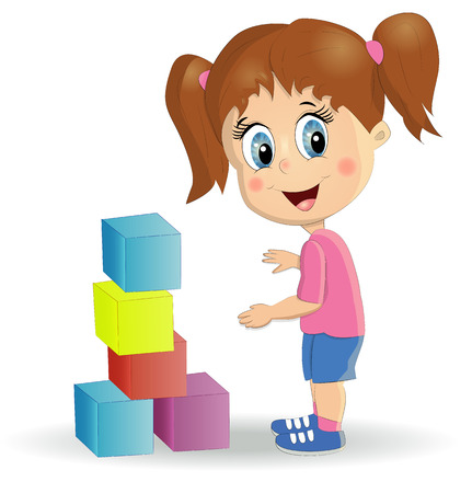 Multiracial children build tower with blocks. Kids play using kit with bright colored cubes. Montessori materials concept. Stock Illustratie