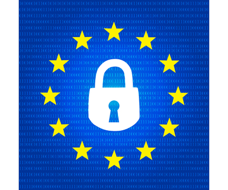 Gdpr concept, data protection, lock locked password Illustration