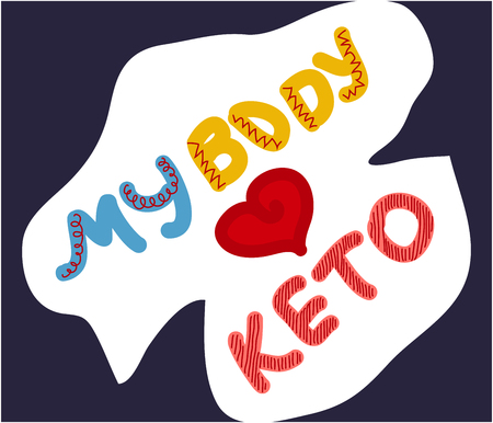 My body loves keto quote. Keto diet hand drawn lettering. Healthy ketogenic nutrition slogan. Low carb diet clipart, sticker. Handdrawn typography.