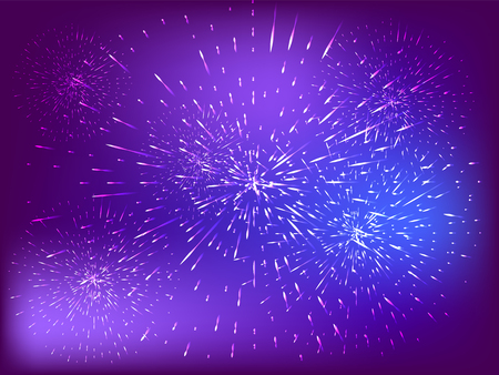 Festive patterned fireworks, bursting in various forms, sparkling pictograms Abstract. New Year and birthdays. Ilustracja