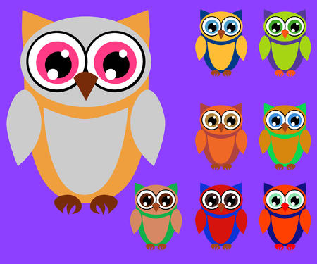 Cute multicolored cartoon owls for children, different designs