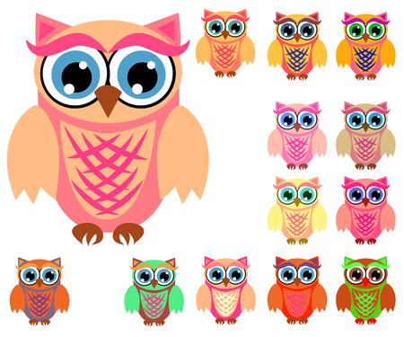 Grande set di simpatici gufi multicolori dei cartoni animati per bambini, design diversi, colore corallo alla moda incluso