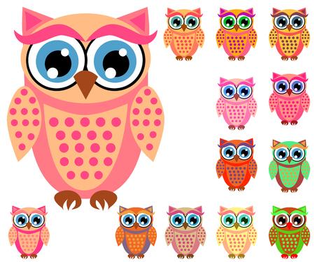 Gran conjunto de lindos búhos de dibujos animados multicolores para niños, diferentes diseños, color coral de moda incluido Ilustración de vector