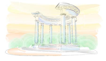 Bosquejo. Acuarela. Cenador con ocho columnas en estilo dórico, Europa, Ucrania, Poltava. Rotonda de la Amistad de los Pueblos
