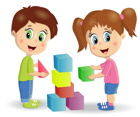 children build tower with blocks. Kids play using kit with bright colored cubes. Montessori materials concept. Vecteurs