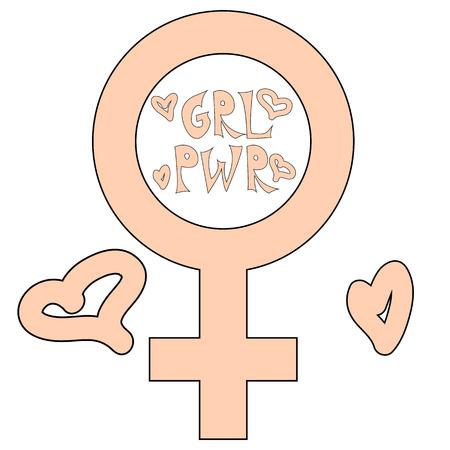 Women resist symbol. Woman fist. Concept the symbol of the mirror of Venus.