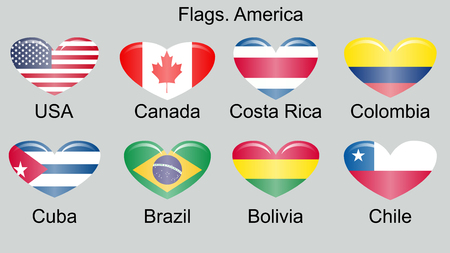American countries flag set North, Central and South America