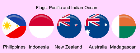 Flags of Oceania countries in original colors. Philippines, Indonesia, New Zealand, Australia, Madagascar 向量圖像