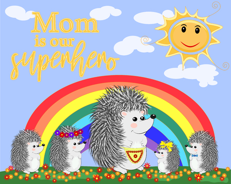 Mother s Day greeting card with hedgehog. Mom you are best. I love you mom