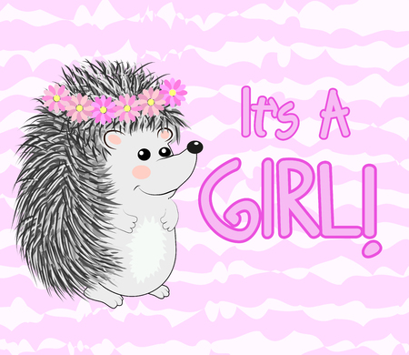 Baby Shower greeting card with a Cute hedgehog girl Illustration