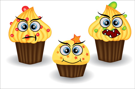 Cute and colorful kawaii style muffin emoticons collection expressing different emotions, feelings.
