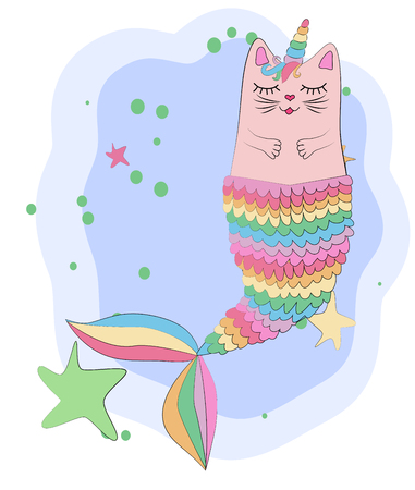 Cat unicorn with a mermaid's tail in the colors of the rainbow, print design