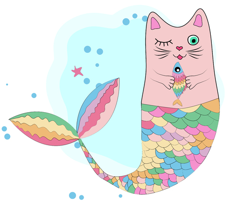 Cat unicorn with a mermaid's tail in the colors of the rainbow and with a rainbow fish in its paws, print design
