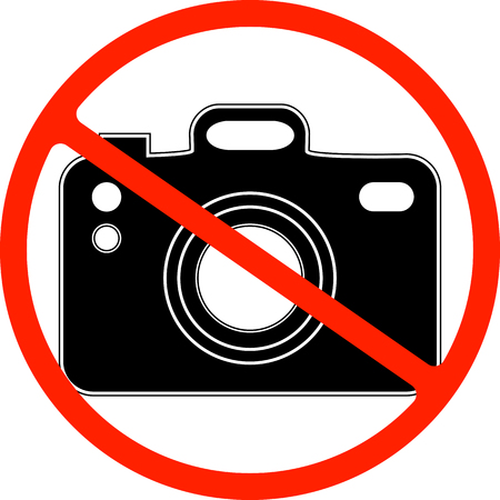 No photography, camera prohibited symbol. Sign indicating the prohibition or rule. Warning and forbidden.  イラスト・ベクター素材