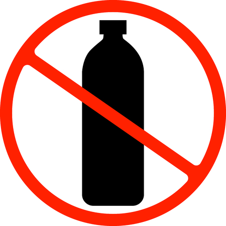 Say no to plastic poster. Disposable cellophane and polythene package prohibition sign. Pollution problem concept Çizim