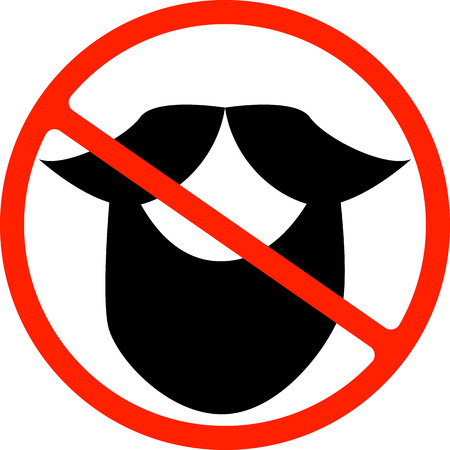 Illustration of an isolated forbidden signal with a moustache, Beard
