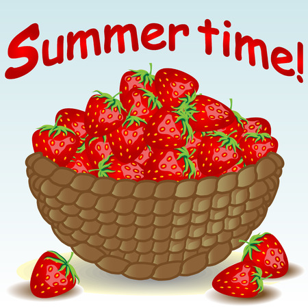 Wicker basket without a handle, a bowl full of berries, strawberries, strawberries scattered near.