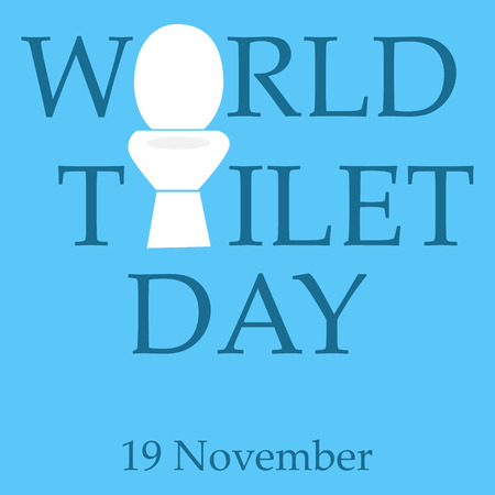 concept of world toilet day with inscription on tank. isolated on blue background. modern illustration