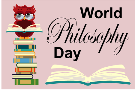 World Philosophy Day. Smart owl on stack of books, open book and lettering on background