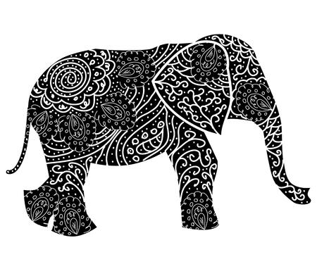 Elefante con estampado de fantasía estilizada. Ilustración dibujada a mano. por separado del telón de fondo Ilustración de vector