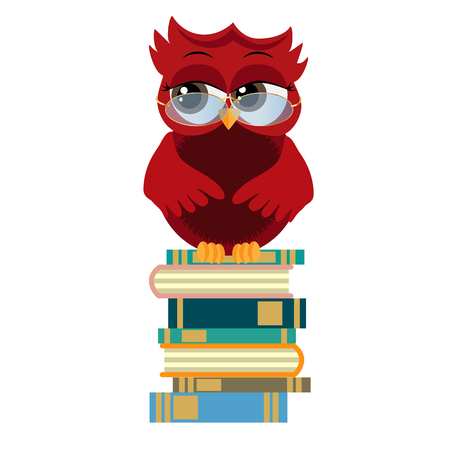 cute owl in eyeglasses with graduation cap sitting on a pile of books