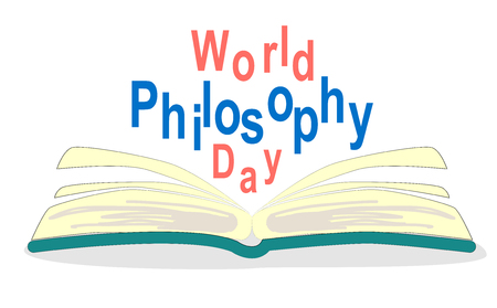 World Philosophy Day. Stack of books with open book and lettering on white background