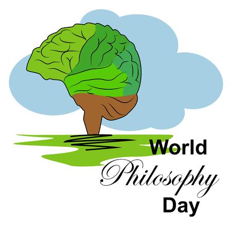 World Philosophy Day, November. Buddhist man spiritual concept illustration