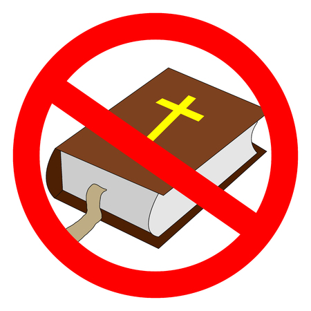 Bible prohibited sign. Atheistic worldview, absence of belief in deities, religious skepticism concept Illusztráció