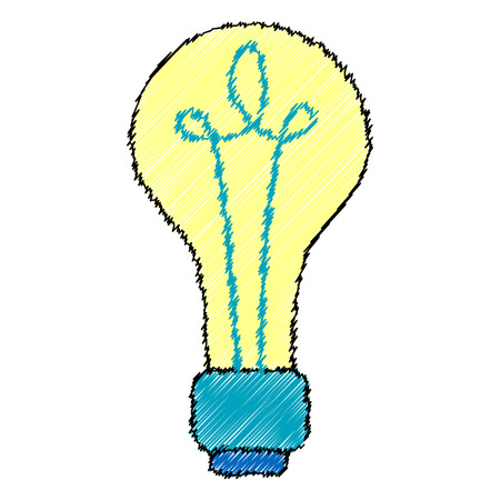 light bulb icons with concept of idea. Original scribble sign of co-creativity. Doodle hand drawn design template. Color original illustration
