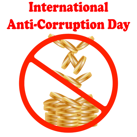 International Anti-corruption day icon, logo, symbol, sign. Isolated on white background. Anti corruption day, December 9
