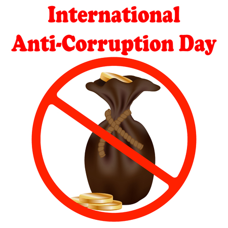 International Anti-corruption day icon, logo, symbol, sign. Isolated on white background. Anti corruption day, December 9 Vectores