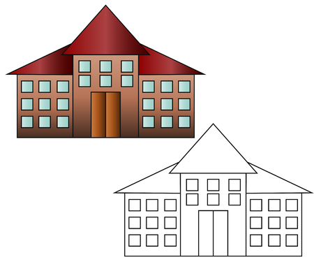Bright flat illustration of school building painted and black and white version