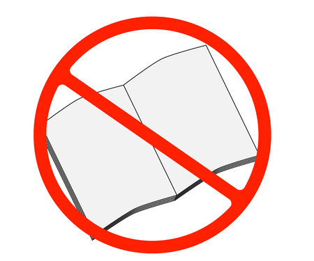 Dont read. Book sign icon. Open book symbol. Red prohibition sign. Stop symbol. Illustration