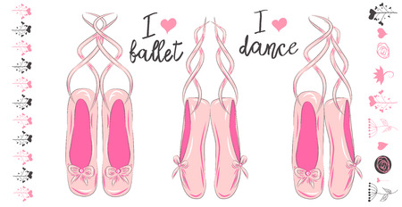 A set of three pink pairs of pointe shoes for ballet, inscriptions I love ballet and I love dancing. Set of elements