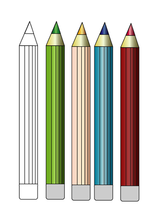 colored pencil set loosely arranged on white background.