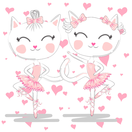 Hand drawn beautiful pair of cute white ballerina cats in pink ballet tutu and pointe