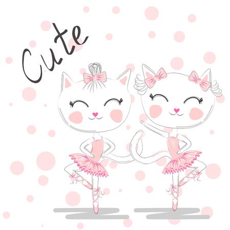 Cute dancing cats in a pink dress. Ballerina love dancing. Hand drawn t-shirt printing. Vettoriali